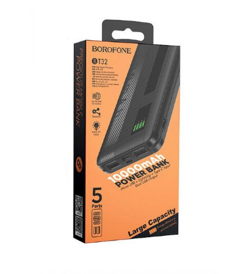 Внешний аккумулятор Borofone BT32 10000mAh 2.0A 2USB/Lightning/Type-C, черный