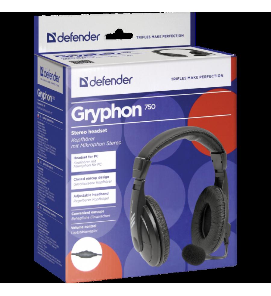 Наушники полноразмерные Defender 750 Gryphon с микрофоном