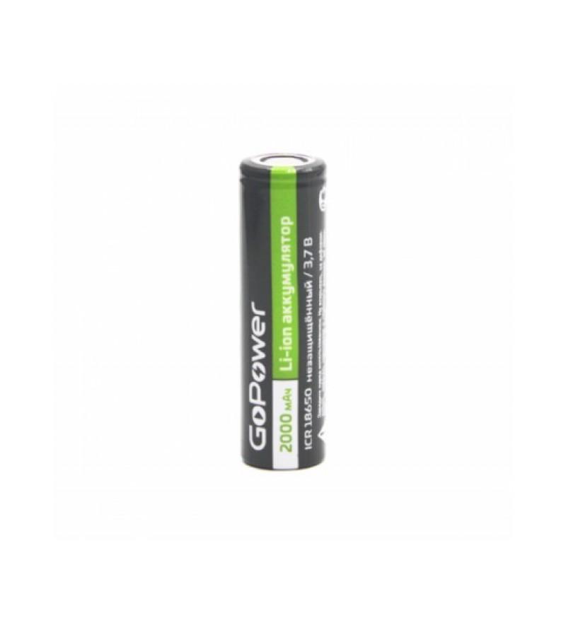 Аккумулятор Li-ion GoPower ICR18650 Shrink 1 3.7V 2000mAh без защиты