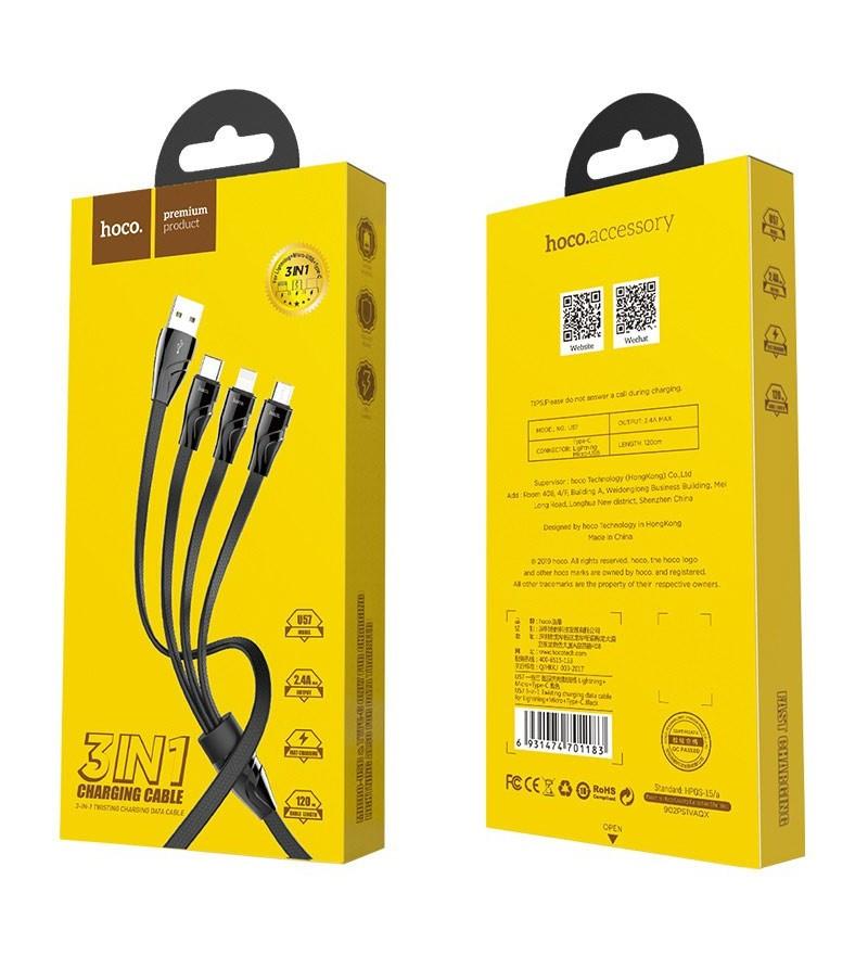 Кабель HOCO U57 USB (m)-Lightning/Type-C/microUSB (m) 1.2м 2.4A силикон черный