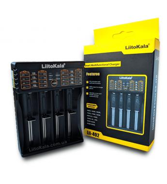 Зарядное устройство Liitokala Lii-402 на 4 акк. 220-12V USB, powerbank,LiIon , LiFe, NiMh, Зар. токи 0.5 и 1А