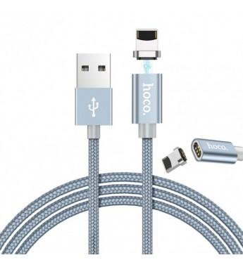 Кабель HOCO U40A USB-micro USB 1.0м 2.0A ткань магнит серый