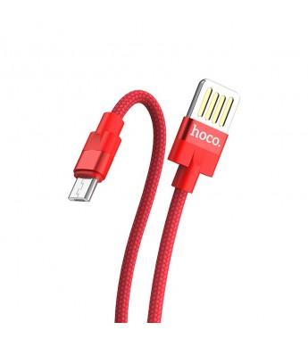 Кабель HOCO U55 USB (m)-microUSB (m) 1.2м 2.4A ткань красный