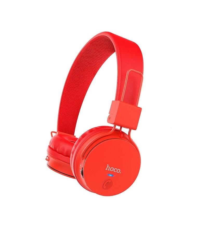 Наушники полноразмерные HOCO W25 bluetooth 5.0 с микрофоном microSD, красный