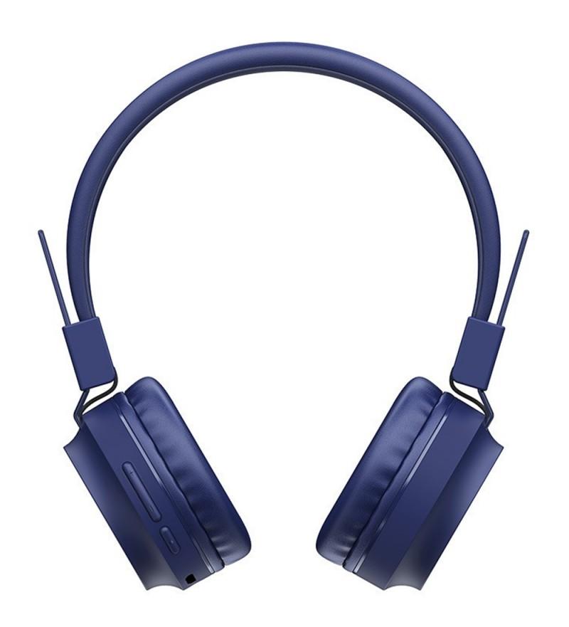 Наушники полноразмерные HOCO W25 bluetooth 5.0 с микрофоном microSD, синий
