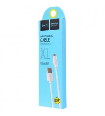 Кабель HOCO X1 USB (m)-microUSB (m) 2.0м 2.1A силикон белый